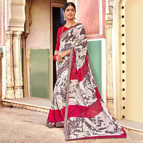 Opulent White Colored Casual Wear Printed Georgette Saree