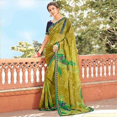 Energetic Olive Green Colored Casual Wear Printed Georgette Saree