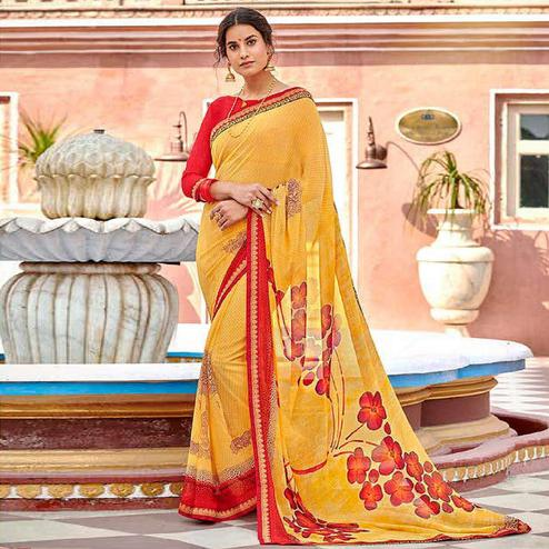 Mesmeric Yellow Colored Casual Wear Floral Printed Georgette Saree