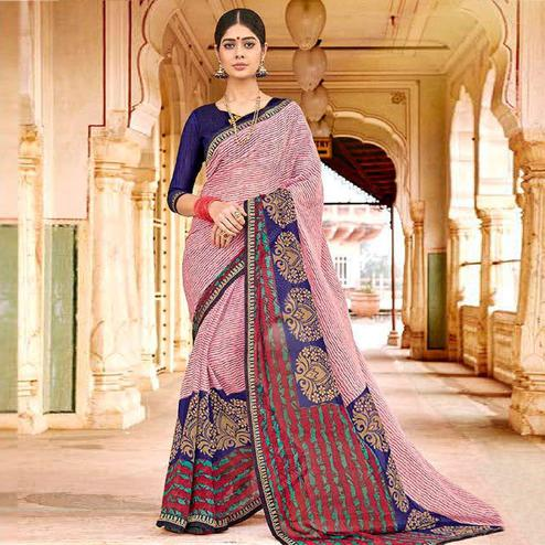Unique Pink Colored Casual Wear Floral Printed Georgette Saree