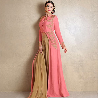 Peach Party Wear Palazzo Suit
