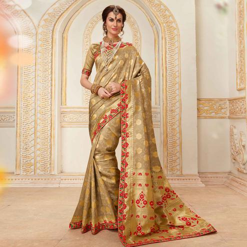Attractive Beige Colored Festive Wear Woven Work Banarasi Silk Saree