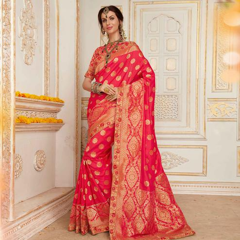 Beautiful Gajri Colored Festive Wear Woven Work Banarasi Silk Saree
