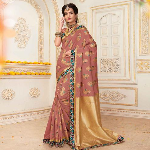 Graceful Mauve Colored Festive Wear Woven Work Banarasi Silk Saree