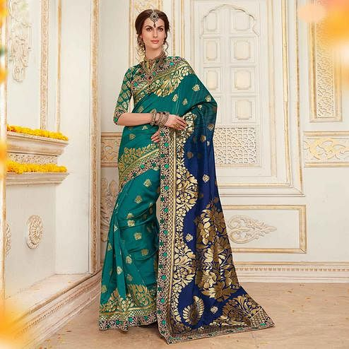 Blooming Rama Blue Colored Festive Wear Woven Work Banarasi Silk Saree