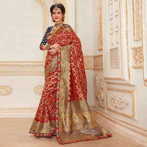 Charming Red Colored Festive Wear Woven Work Banarasi Silk Saree