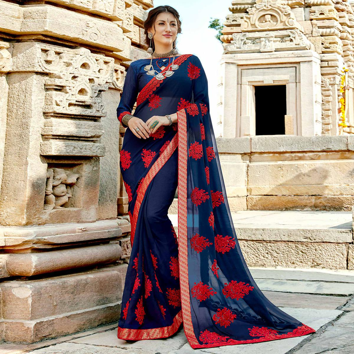 Intricate Navy Blue Colored Party Wear Floral Embroidered Georgette Saree