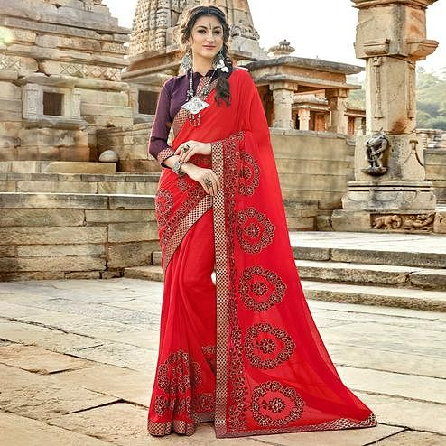 Arresting Red Colored Party Wear Floral Embroidered Georgette Saree