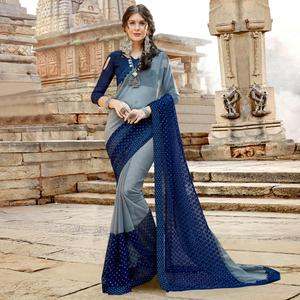 Desirable Grey-Blue Colored Party Wear Floral Embroidered Georgette Saree