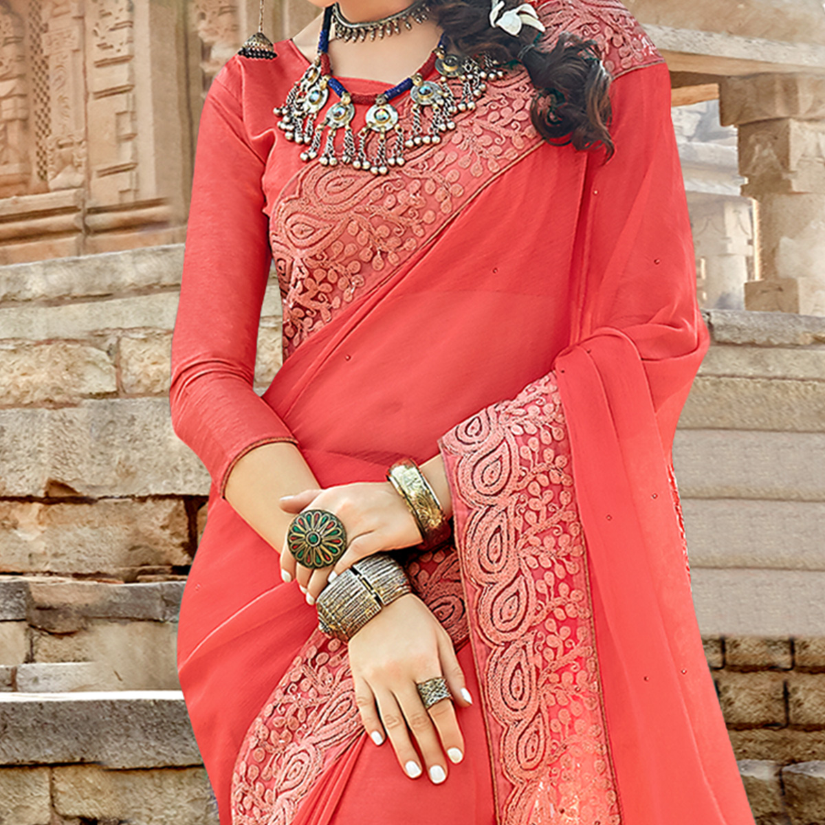 Exotic Pink Colored Party Wear Floral Embroidered Georgette Saree