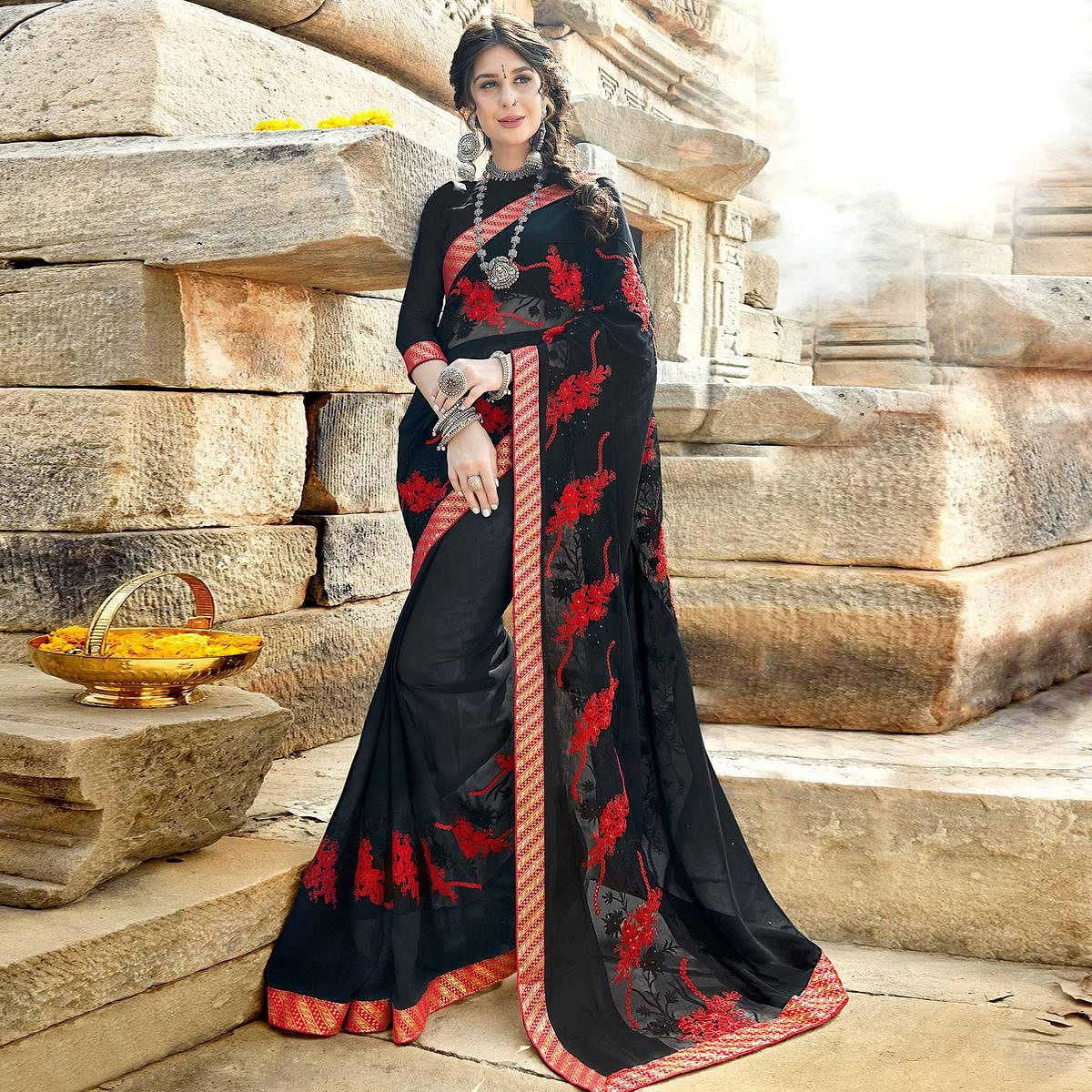 Trendy Black Colored Party Wear Floral Embroidered Georgette Saree