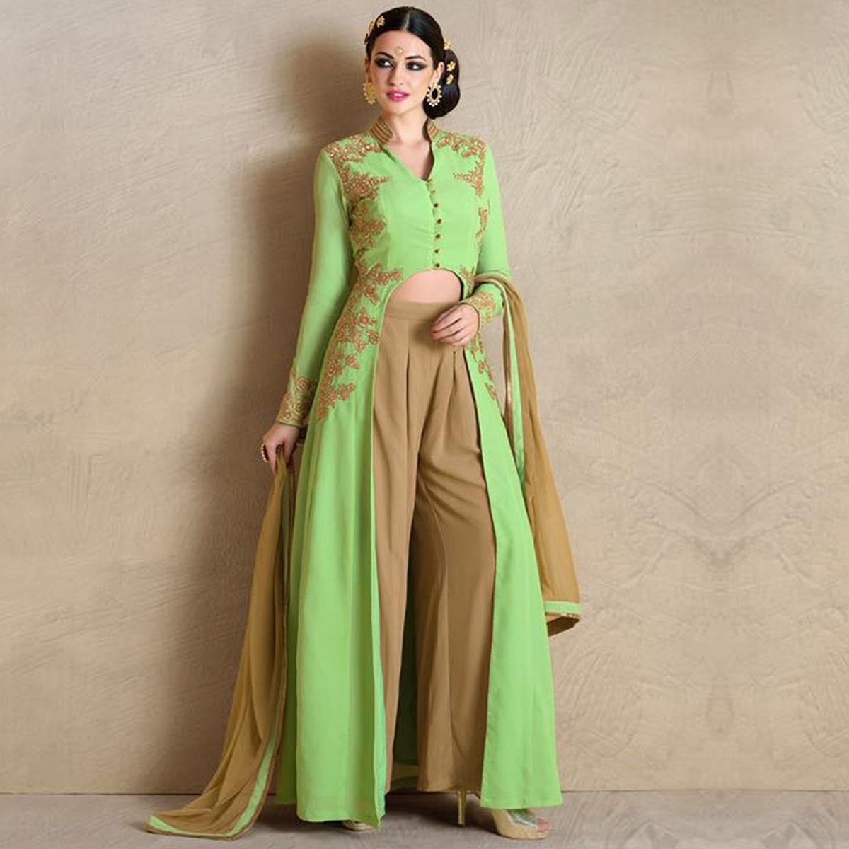 Pastel Green Embroidered Palazzo Suit