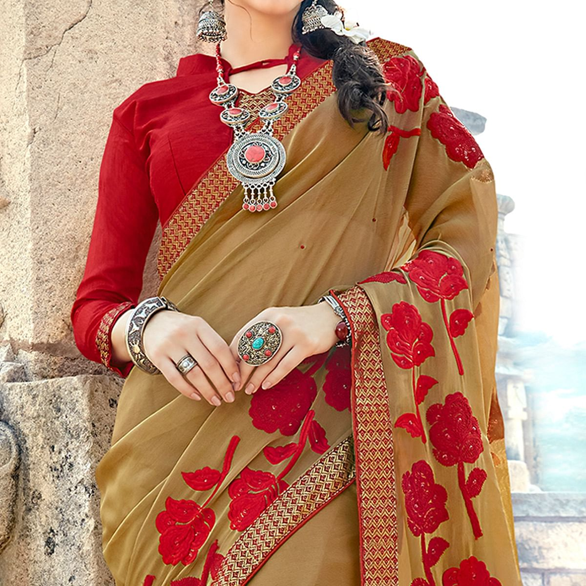 Elegant Brown Colored Party Wear Floral Embroidered Georgette Saree