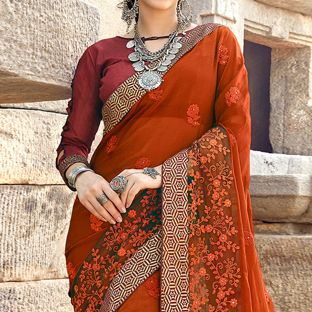 Radiant Rust Orange Colored Party Wear Floral Embroidered Georgette Saree