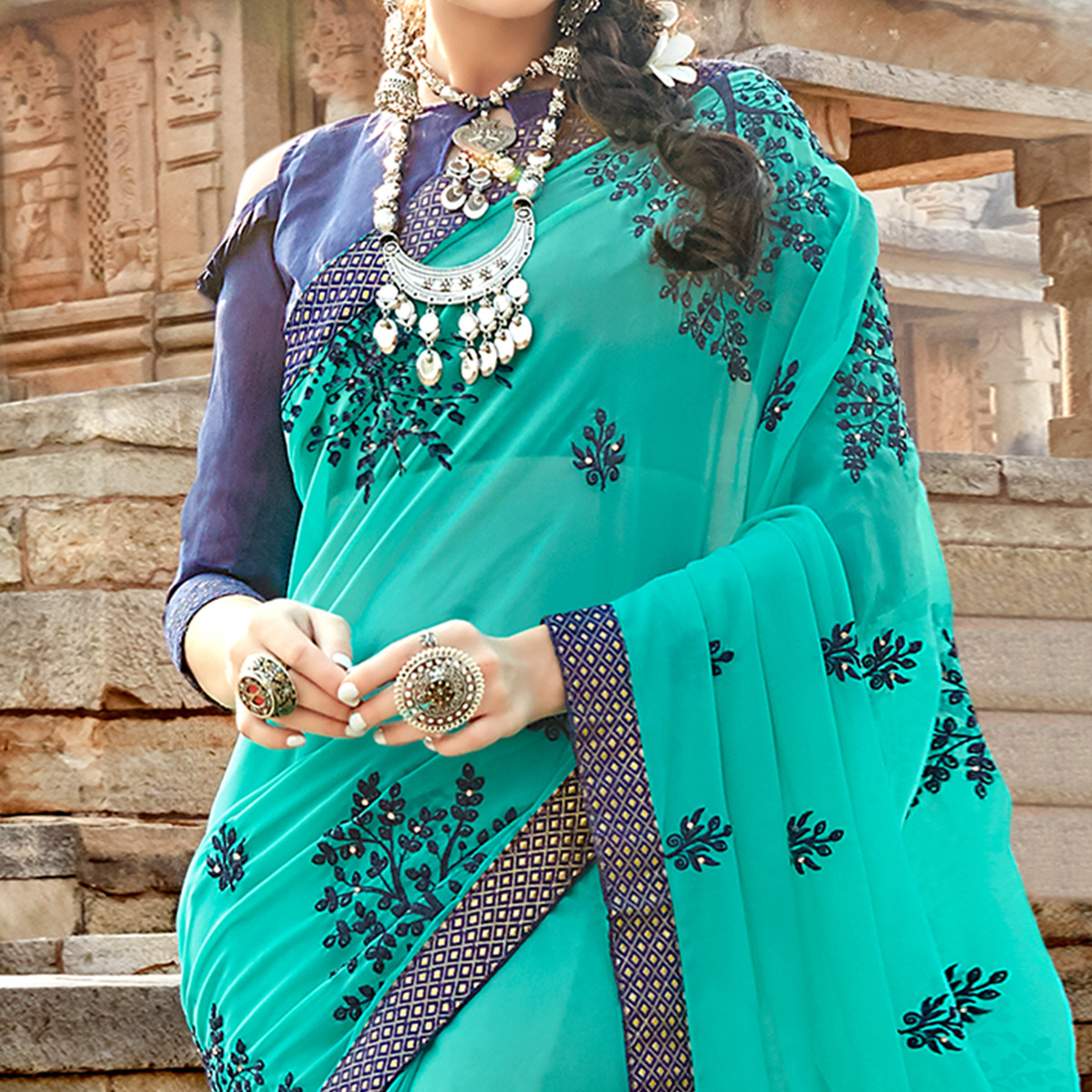 Pleasant Aqua Blue Colored Party Wear Floral Embroidered Georgette Saree