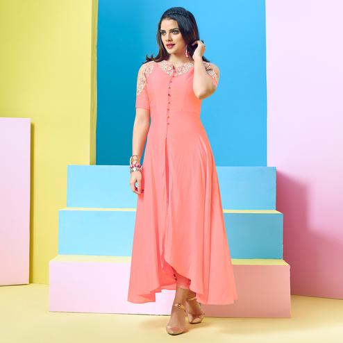 Intricate Pink Colored Party Wear Floral Embroidered Cotton Kurti