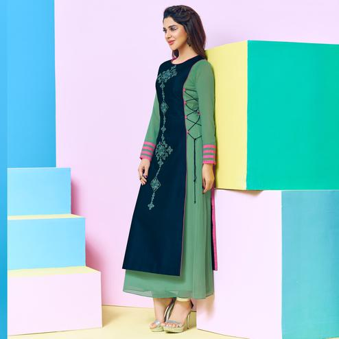 Arresting Green-Navy Blue Colored Party Wear Floral Embroidered Georgette-Satin Kurti