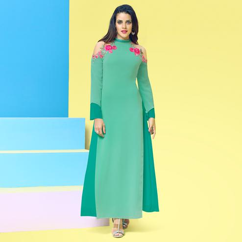 Desirable Turquoise Green Colored Party Wear Floral Embroidered Georgette Kurti