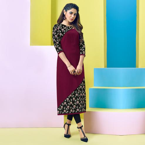 Exotic Wine-Black Colored Party Wear Floral Embroidered Georgette Kurti