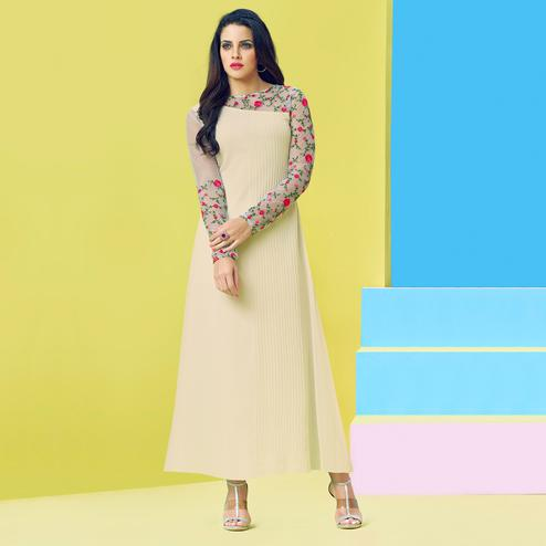 Trendy Cream Colored Party Wear Floral Embroidered Georgette-Net Kurti