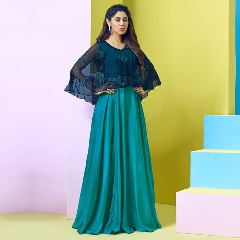 Elegant Rama Blue Colored Party Wear Floral Embroidered Art Silk-Net Gown