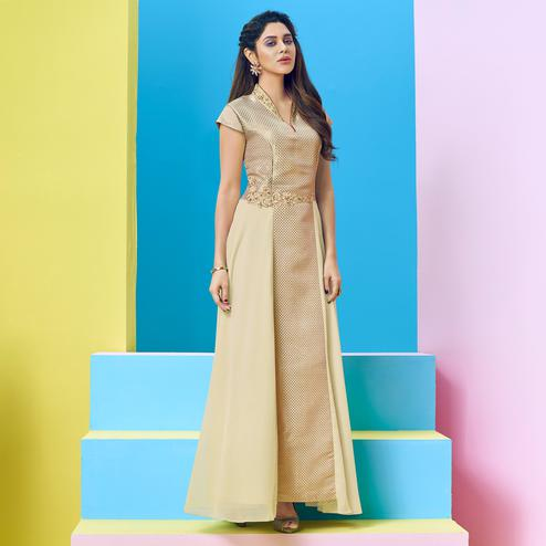 Pleasant Cream Colored Party Wear Floral Embroidered Georgette-Banarasi Jacquard Gown