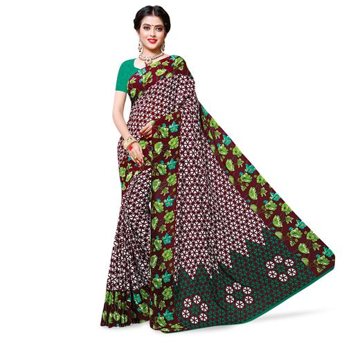 Attractive Maroon Colored Casual Wear Printed Georgette Saree