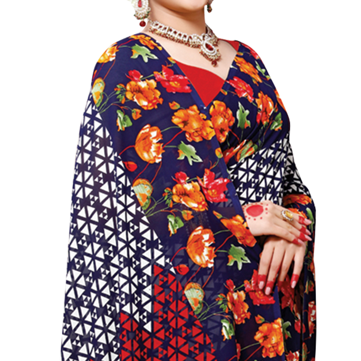 Beautiful Navy Blue Colored Casual Wear Printed Georgette Saree