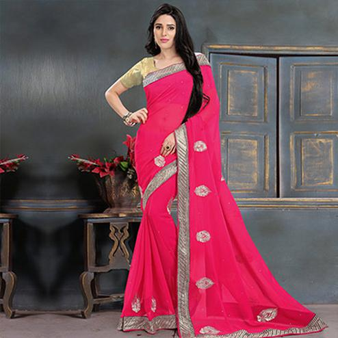 Pink Georgette Patch Work Saree
