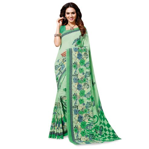 Amazing Green Colored Casual Wear Printed Georgette Saree