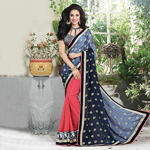 Grey - Peach Party Wear Half Saree