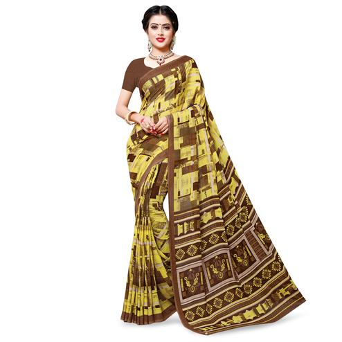 Majesty Lemon Yellow Colored Casual Wear Printed Georgette Saree