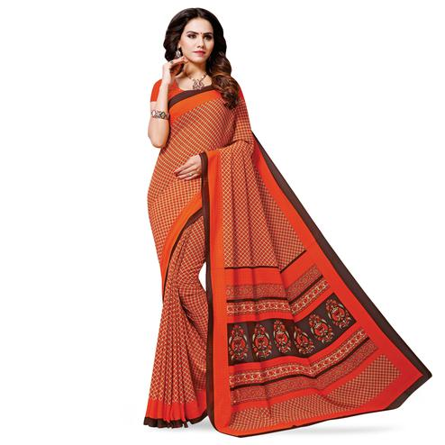 Dazzling Orange Colored Casual Wear Printed Georgette Saree