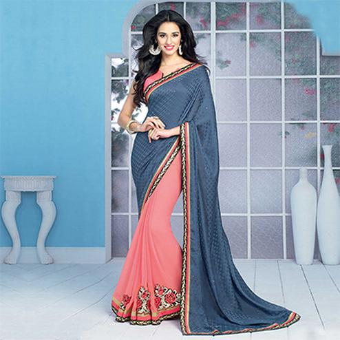 Steel Blue - Peach Half & Half Saree