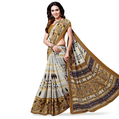 Intricate Grey -Coffee Brown Colored Casual Wear Printed Georgette Saree