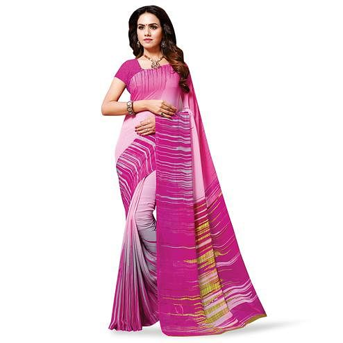 Pleasant Pink Colored Casual Wear Printed Georgette Saree
