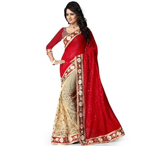 Red - Beige Embroidered Half Saree