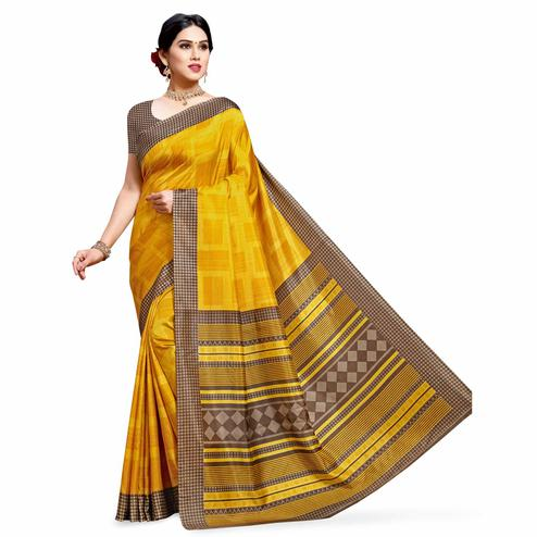 Elegant Yellow Colored Casual Printed Cotton Silk Saree