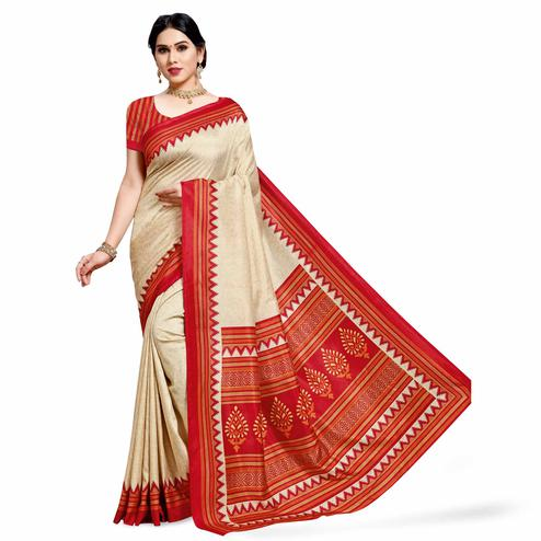 Blooming Cream-Red Colored Casual Printed Cotton Silk Saree