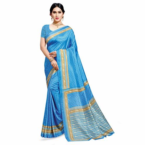 Groovy Blue Colored Casual Printed Cotton Silk Saree