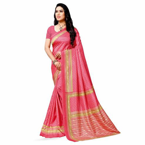 Entrancing Pink Colored Casual Printed Cotton Silk Saree