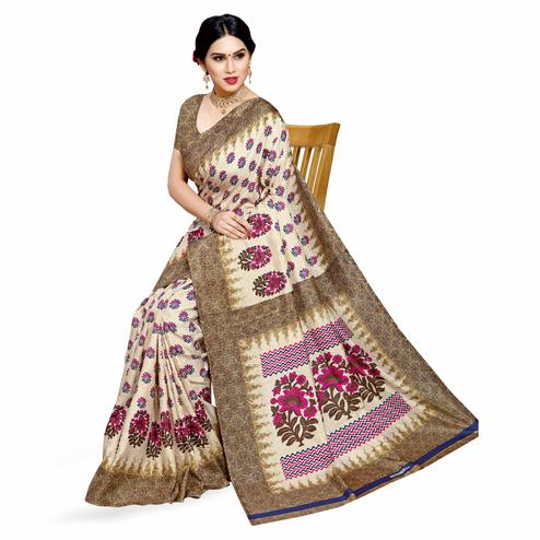 Sophisticated Cream-Pink Colored Casual Printed Cotton Silk Saree