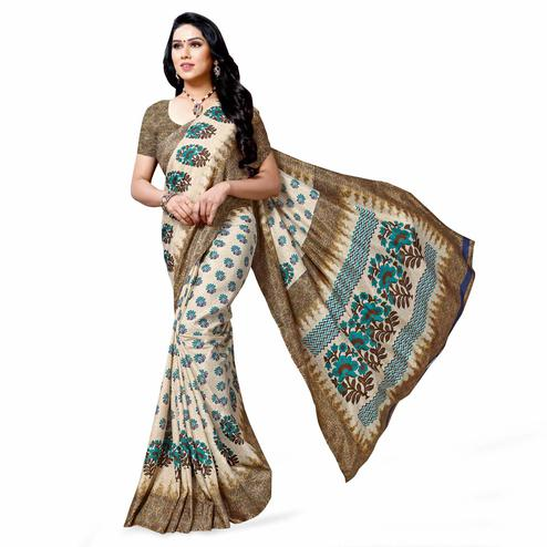 Graceful Cream-Blue Colored Casual Printed Cotton Silk Saree