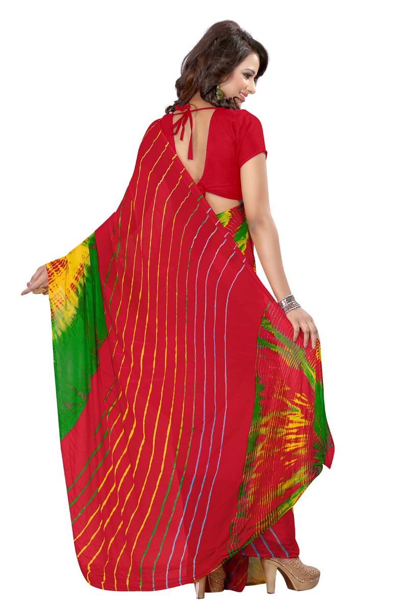 Red Print Work Chiffon Saree