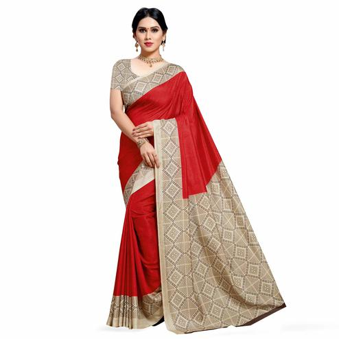 Capricious Red Colored Casual Printed Cotton Silk Saree