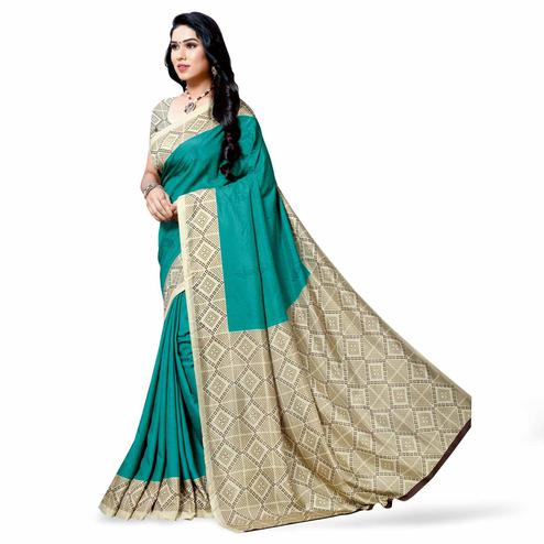 Appealing Aqua Blue Colored Casual Printed Cotton Silk Saree