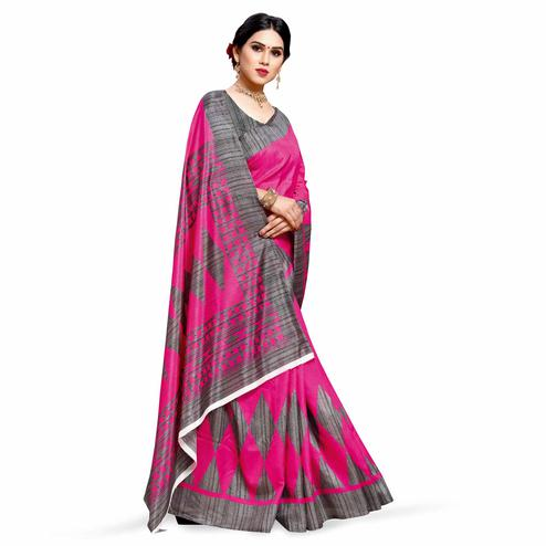 Desirable Pink Colored Casual Printed Cotton Silk Saree