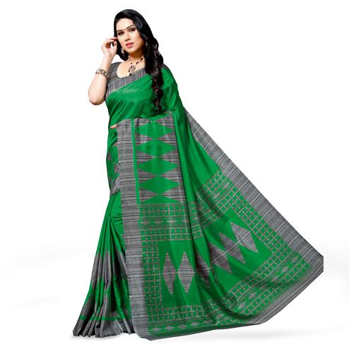Attractive Green Colored Casual Printed Cotton Silk Saree