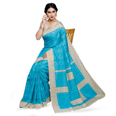 Intricate Sky Blue Colored Casual Printed Cotton Silk Saree
