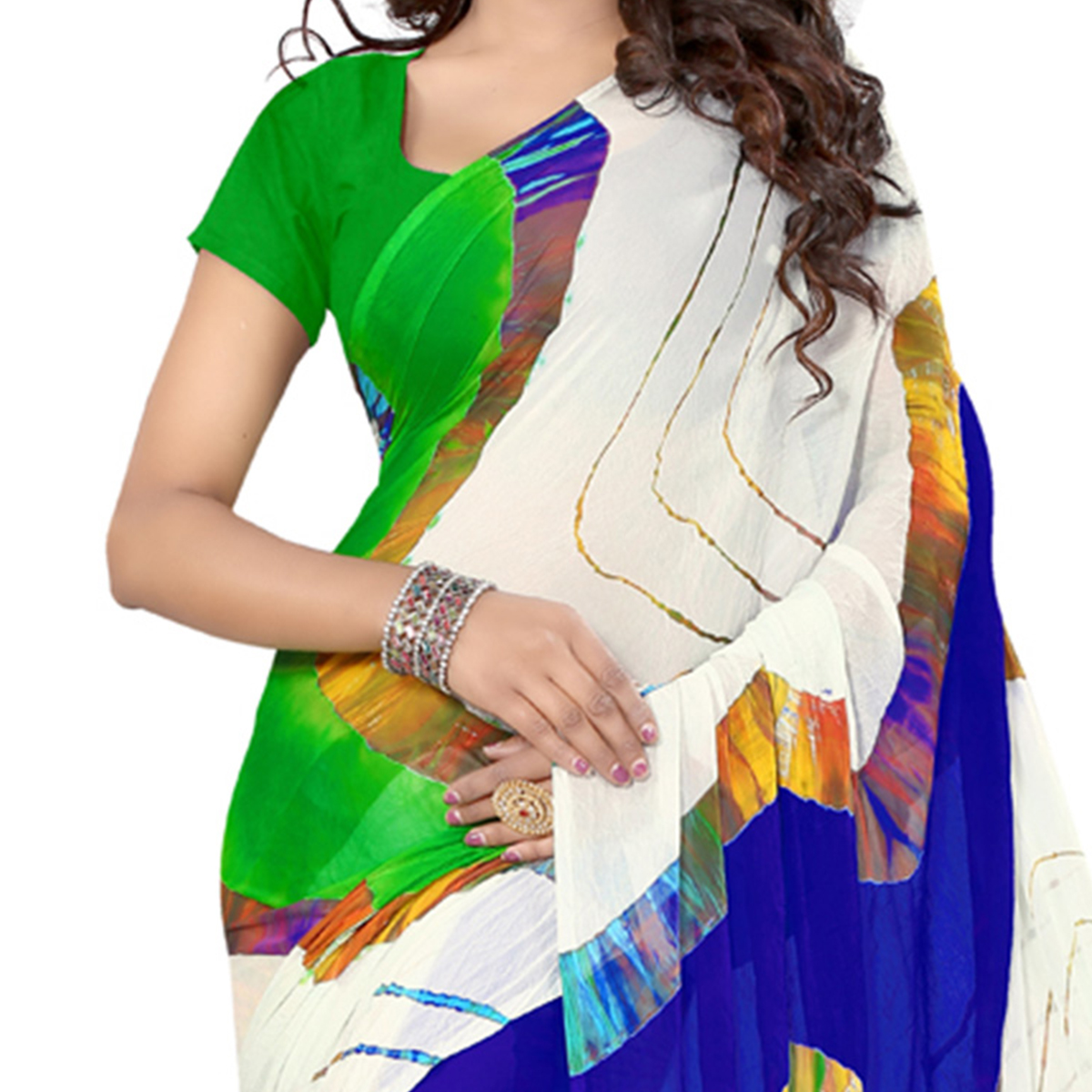 Multicolored Print Work Chiffon Saree